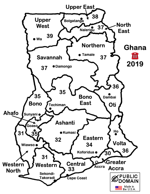 2019 Map of Ghana telephone area codes